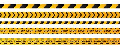Construction caution tape. Yellow danger area ribbon vector illustration