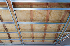 Construction of ceiling insulation Stock Photos