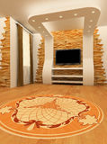 Construction of ceiling and wall. With laminated flooring board. 3d render. Modern interior Royalty Free Illustration