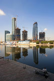 Construction of a centre. Construction of a new modern business centre Moscow City in Moscow (Russia Royalty Free Stock Photos