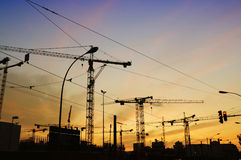 Construction chaos at dusk Royalty Free Stock Photos