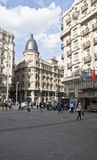 Construction chez le Gran Via.Madrid, Espagne. Photo stock