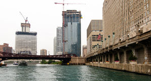 Construction on the Chicago River Stock Image
