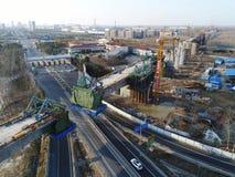 Construction of China`s high-speed railway. On the site of the high-speed railway construction in huaiyang town in huaian city, jiangsu province, China, the Royalty Free Stock Image