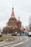 Construction of the Church of All Saints at Filevskaya floodplain. Moscow. A new church is being built in a densely populated residential area of Moscow. The royalty free stock photo