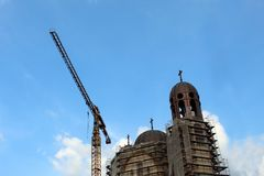 Construction church in city royalty free stock photos