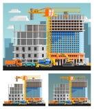 Construction And City Compositions Set. Block of flats construction and city orthogonal compositions set flat  vector illustration Stock Photos
