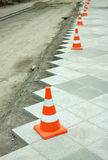Construction of city pedestrian area Stock Photography