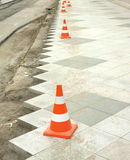 Construction of city pedestrian area Royalty Free Stock Photos