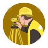 Construction civil engineer surveying using theodolite tool Stock Photography