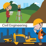 Construction civil engineering land survey engineer stock illustration
