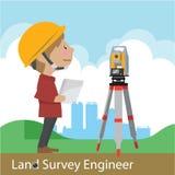 Construction and civil engineering vector. Construction civil engineering land survey engineer vector illustration cartoon character Royalty Free Stock Photo