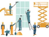 Construction and cleaning crews Royalty Free Stock Photos