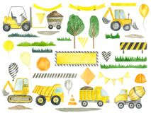 Construction clipart trucks, road signs, balloons, ribbons, trees children's collection for birthday party decoration