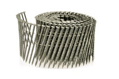 Construction Coil Nails Close-up Stock Image