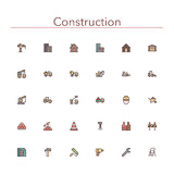 Construction Colored Line Icons Stock Photos