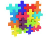 Construction of colorful puzzle pieces. In backgrounds Royalty Free Illustration