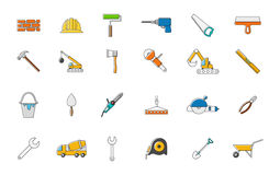 Construction colorful vector icons set. Set of 24 Construction colorful vector icons Stock Images
