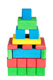 Construction from colour wooden cubes. Royalty Free Stock Photos