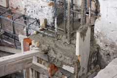 Construction Column Steel Concrete Poured Royalty Free Stock Photo