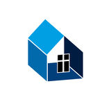 Construction company abstract symbol, building corporation.. House vector design element, simple property developer or estate agency icon Royalty Free Stock Photo