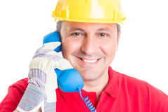 Construction company contact, assistance or support Stock Image