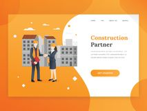 Construction company landing page template stock illustration