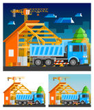 Construction Compositions Set. Construction orthogonal compositions set with house and truck flat  vector illustration Stock Photos