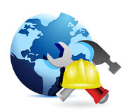 Construction concept around the globe Stock Images
