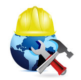 Construction concept around the globe. Stock Image
