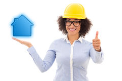 Construction concept - beautiful african american business woman Stock Photography
