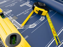 Construction Concept. Blueprint, level and rulers Royalty Free Stock Images