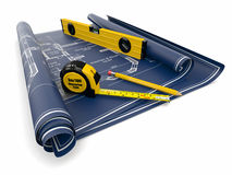 Construction Concept. Blueprint, level and rulers Stock Photos
