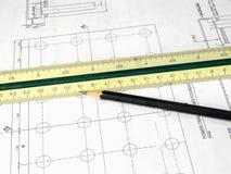 Construction Concept. Blueprint, Royalty Free Stock Photos