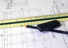 Construction Concept. Blueprint Stock Photos