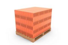Construction Concept. Ceramic Bricks over Euro pallet Royalty Free Stock Photo