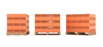 Construction Concept. Ceramic Bricks over Euro pallets Stock Photos