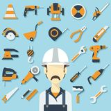 Construction concept with flat icons and builder. Royalty Free Stock Image