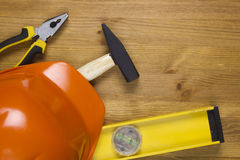 Construction concept with hard hat working tools Stock Images