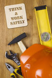 Construction concept with hard hat working tools Royalty Free Stock Photos