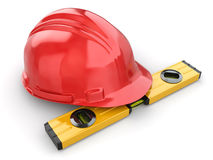Construction concept. Hardhat and carpenter's level. 3d Stock Photography