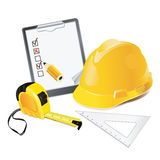 Construction Concept. Helmet, pencil and rulers. Stock Photography
