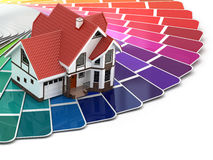 Construction concept. House and color palette. 3d Royalty Free Stock Photo