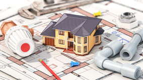 Construction concept. Project of heating for house. House with parts of heating on the blueprints. 3d illustration Stock Photos