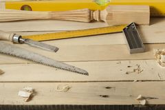 Construction tools on wooden background.Copy space for text. royalty free stock images