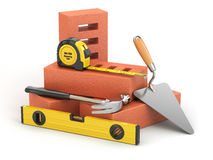 Construction concept. Tools and bricks. 3d Royalty Free Stock Photography