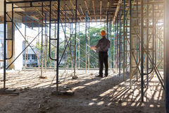 Construction concepts, Engineer and Architect working at Construction Site Royalty Free Stock Image