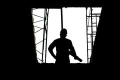 Construction concepts, Silhouette of Engineer and Architect working at Construction Site Stock Images