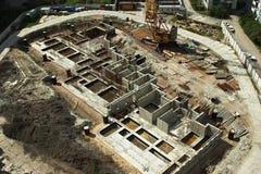 Construction concrete base. Construction of a new apartment house Royalty Free Stock Photos