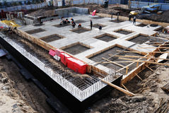 Construction of concrete foundation of building Royalty Free Stock Photos